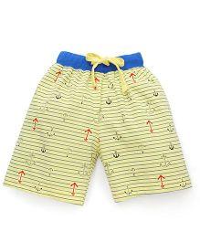 Fido Drawstring Shorts Allover Anchor Print - Yellow & Royal Blue