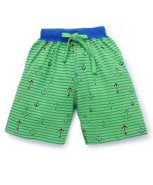 Fido Drawstring Shorts Allover Anchor Print - Green & Royal Blue