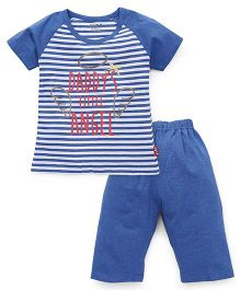 Fido Half Sleeves Night Suit Daddy's Little Angel Print - Blue