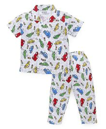 Fido Half Sleeves Night Suit Allover Car Print - White