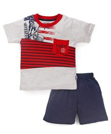 Fido Half Sleeves T-Shirt And Shorts Stripes Print - Cream & Navy Blue