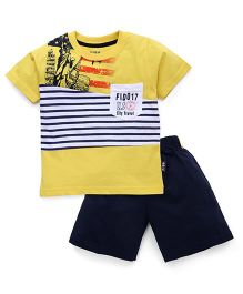 Fido Half Sleeves T-Shirt And Shorts Stripes Print - Yellow & Navy Blue