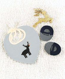 Pranava Reindeer Printed Organic Cotton Bib & Booties - Navy Blue & Light Blue