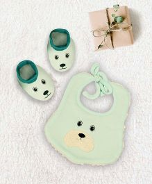 Pranava Bear Design Organic Cotton Bib & Booties - Aqua Green
