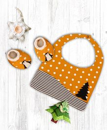Pranava Penguin Design Organic Cotton Bib & Booties - Orange
