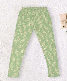Pranava Leaf Printed Organic Cotton Leggings - Green