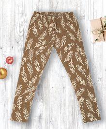 Pranava Leaf Printed Organic Cotton Leggings - Brown