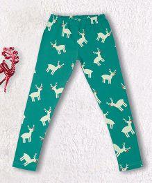 Pranava Reindeer Printed Organic Cotton Leggings - Alpine Green