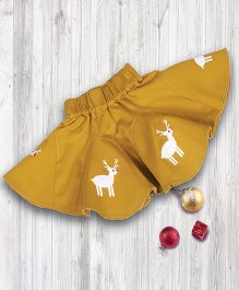 Pranava Reindeer Embossed Organic Cotton Flare Skirt - Butterscotch