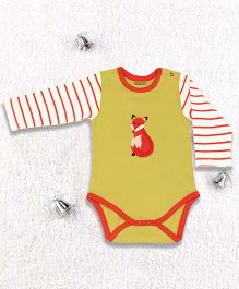 Pranava Fox Printed Organic Cotton Onesie - Yellow
