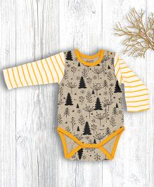 Pranava All Over Tree Printed Organic Cotton Onesie - Melange & Yellow