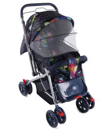Baby Pram Cum Stroller With Reversible Handle And Mosquito Net - Navy
