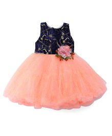 Bluebell Sleeveless Partywear Frock With Floral Applique - Blue Peach