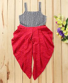 Twisha Contrast Printed Jumpsuit - Red