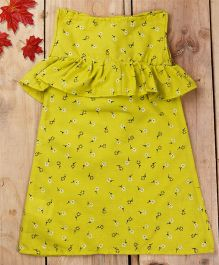 Tiny Toddler Summer Dress Printed Boat Neck Dress With Ruffles - Lemon Yellow