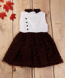 Tiny Toddler Mandarin Collar Dress With Floral Lace Bottom - Coffee Brown
