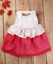 Tiny Toddler Satin Dress With Polka Dotted Net Flare - Pink & White