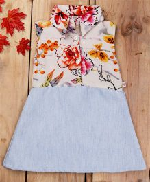 Tiny Toddler Floral Front Button Collar A Line Dress With Soft Denim - Light Blue & White