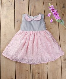 Tiny Toddler Twists Dress With Peter Pan Collar - Baby Pink & Grey