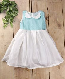 Tiny Toddler Twists Satin Dress With Peter Pan Collar - Turqoise & White