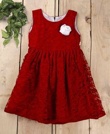 Tiny Toddler Lace Dress With A Rose - Maroon
