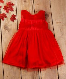Tiny Toddler Party Dress With Bow - Carrot Red