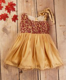 Tiny Toddler Party Flare Dress - Magenta & Brown