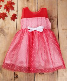 Tiny Toddler Party Dress Polka Dot Net Flare Dress With Bow - Pink & White