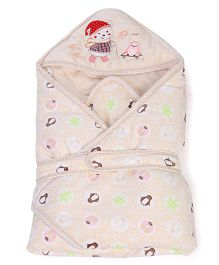 Mee Mee Hooded Blanket Penguin Embroidery - Light Yellow