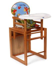 Mee Mee Wooden High Chair Animal Print - Brown Blue Green