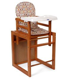 Mee Mee Wooden High Chair Floral Print - Brown