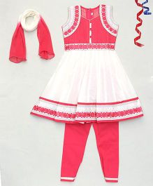 Party Princess Flower Embroidered Kurti & Churidar Set With Dupatta - Red