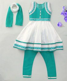 Party Princess Flower Embroidered Kurti & Churidar Set With Dupatta - Green