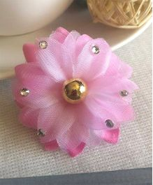 Treasure Trove Carnation Flower Hair Clip Studded With Stone - Baby Pink