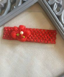Treasure Trove Stretchable Headband Embellished With Flower & Pearl - Red