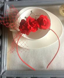 Treasure Trove Crown Hairband Embellished With Roses - Red