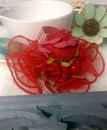 Treasure Trove Flower & Ribbon With Net Embellished Hair Clip - Red