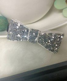 Treasure Trove Glittery Bow Hair Clip - Silver