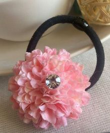 Treasure Trove Carnation Flower Pony Tail Holder - Baby Pink