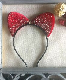 Treasure Trove Cat Ears Hairband With Studs - Red