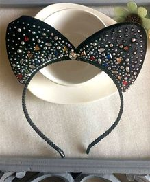 Treasure Trove Cat Ears Hairband With Studs - Black
