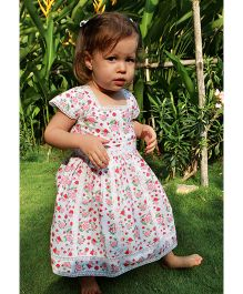 Bachha Essential Floral Printed & Lace Applique Dress - White & Red