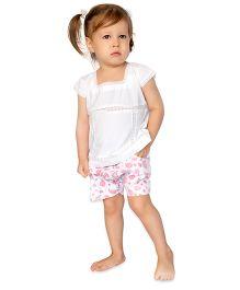 Bachha Essential Paisley Printed Shorts - Pink & White
