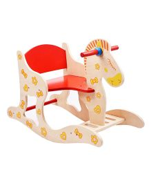 Emob Wooden Eco-friendly Baby Rocking Horse - Cream And Red