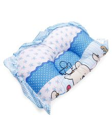 Owen Semi Circular Pillow Bear Print - Blue White