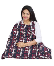 Lulamom Mothers Plaid Printed Nursing Cover With Pocket - Blue