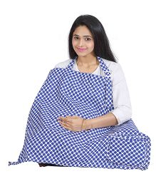 Lulamom Mothers Polks Print Nursing Cover With Pocket - Blue