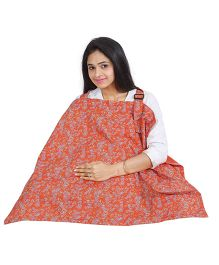 Lulamom Mothers Floral Print Nursing Cover With Pocket - Red