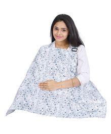 Lulamom Mothers Floral Print Nursing Cover With Pocket - Blue