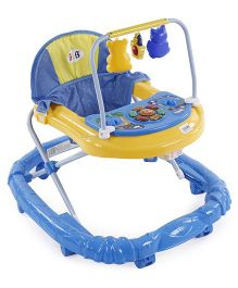 Musical Baby Walker With Play Tray And Hanging Toys - Pink